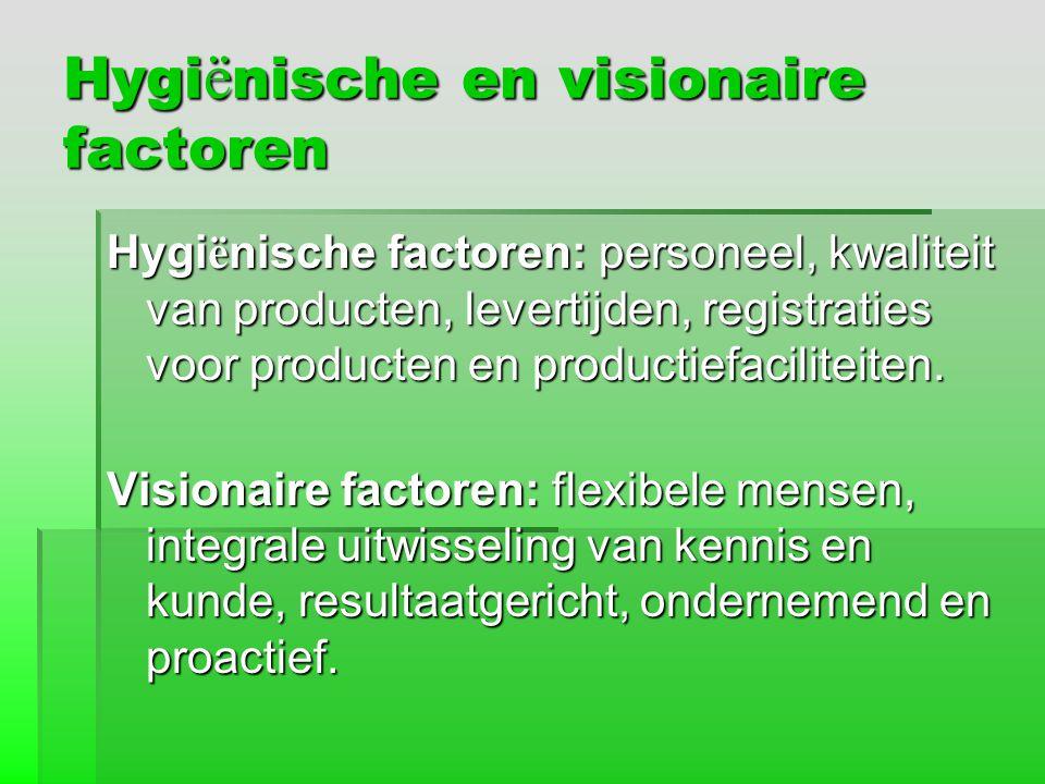Hygi ë nische en visionaire factoren Hygi ë nische factoren: personeel, kwaliteit van producten, levertijden, registraties voor producten en productie