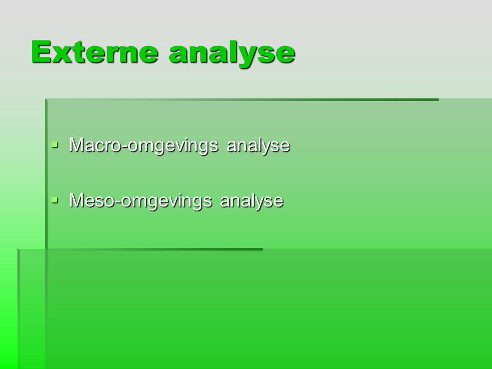 Externe analyse  Macro-omgevings analyse  Meso-omgevings analyse
