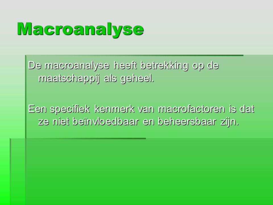 Macroanalyse De macroanalyse heeft betrekking op de maatschappij als geheel. Een specifiek kenmerk van macrofactoren is dat ze niet be ï nvloedbaar en