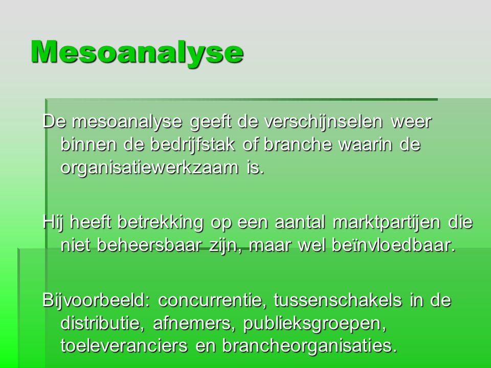 Mesoanalyse De mesoanalyse geeft de verschijnselen weer binnen de bedrijfstak of branche waarin de organisatiewerkzaam is. Hij heeft betrekking op een