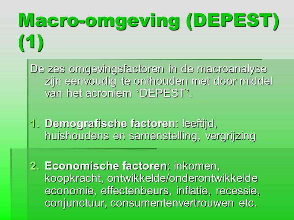 Macro-omgeving (DEPEST) (1) De zes omgevingsfactoren in de macroanalyse zijn eenvoudig te onthouden met door middel van het acroniem ' DEPEST '. 1.Dem