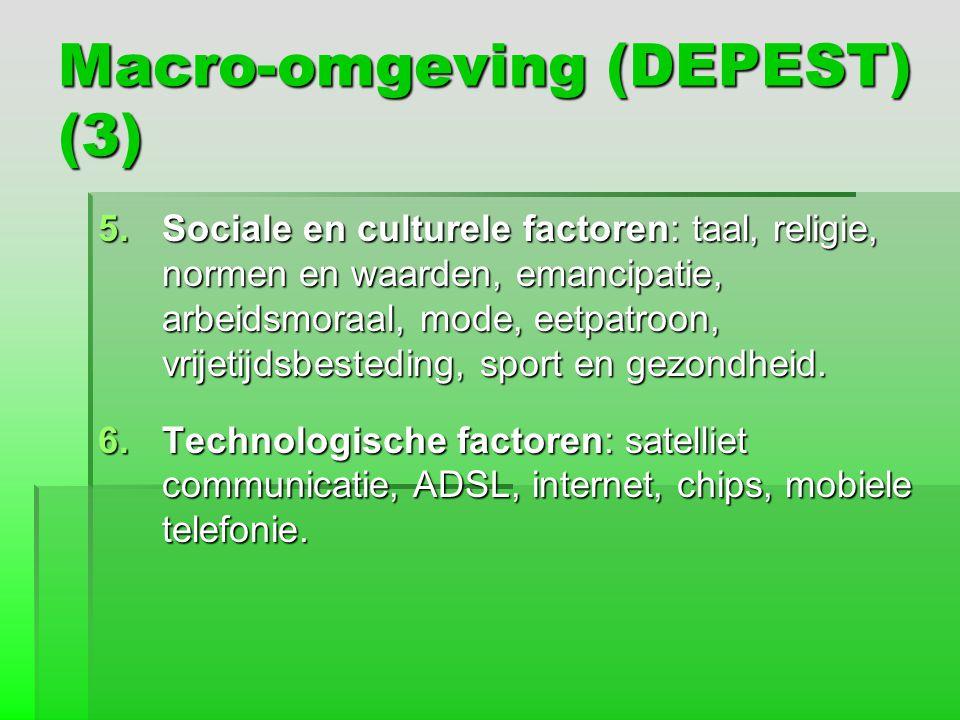 Macro-omgeving (DEPEST) (3) 5.Sociale en culturele factoren: taal, religie, normen en waarden, emancipatie, arbeidsmoraal, mode, eetpatroon, vrijetijd