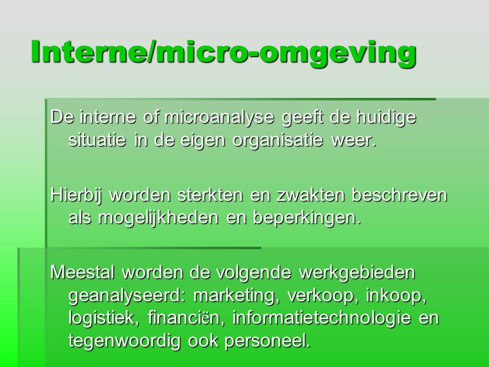 Interne/micro-omgeving De interne of microanalyse geeft de huidige situatie in de eigen organisatie weer. Hierbij worden sterkten en zwakten beschreve