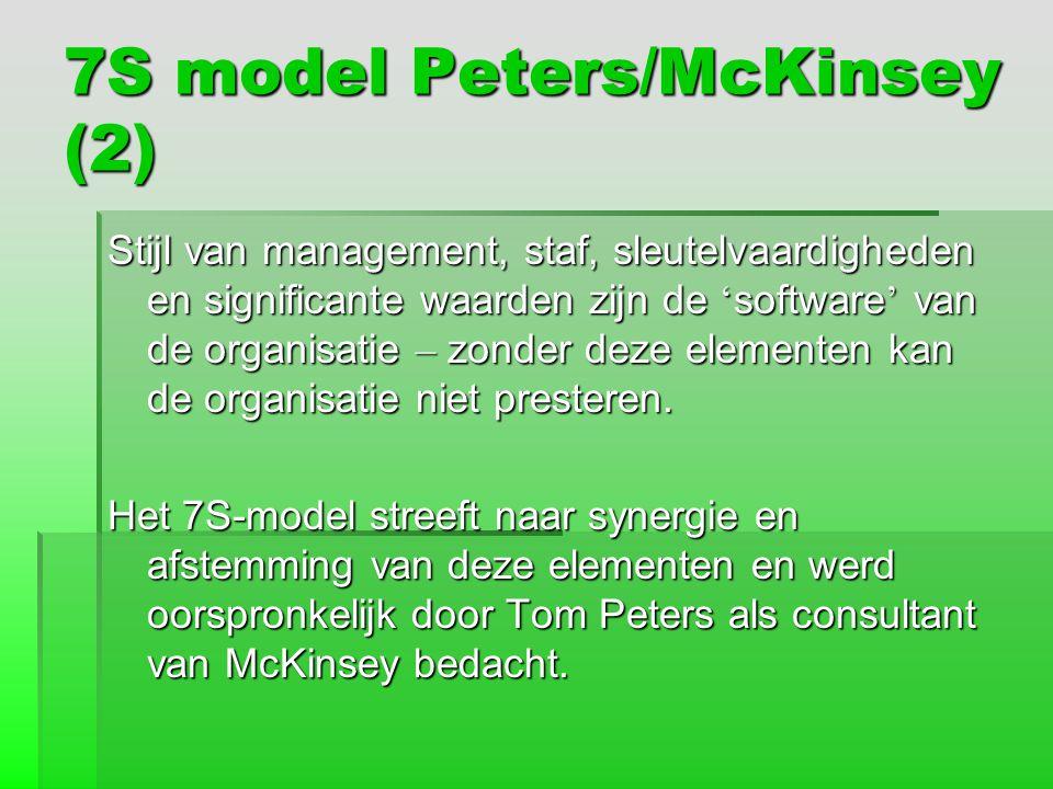 7S model Peters/McKinsey (2) Stijl van management, staf, sleutelvaardigheden en significante waarden zijn de ' software ' van de organisatie – zonder