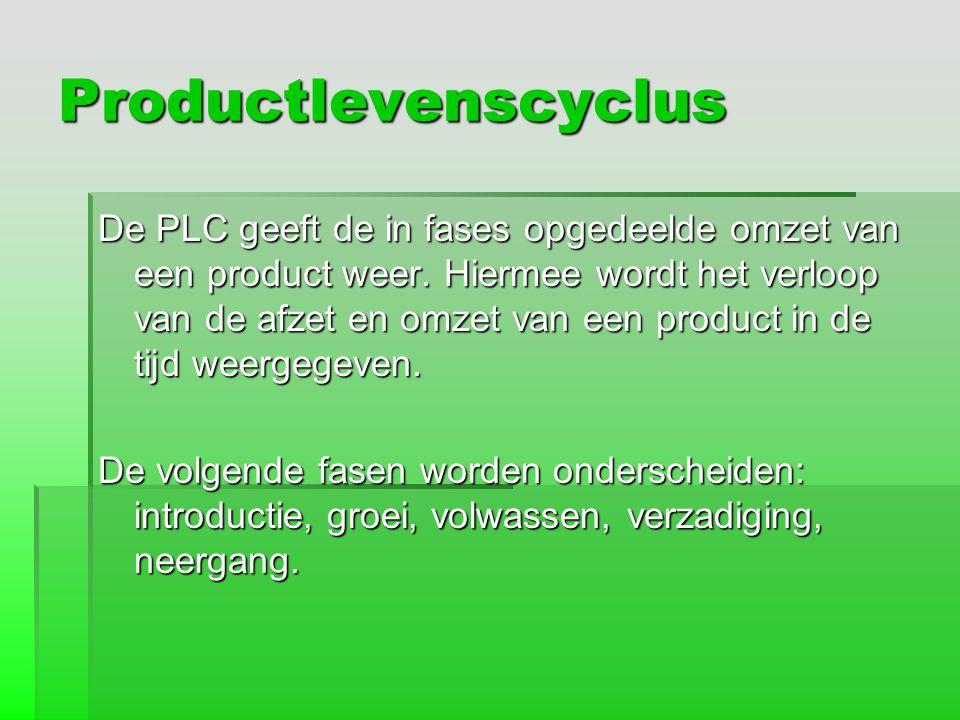 Productlevenscyclus De PLC geeft de in fases opgedeelde omzet van een product weer. Hiermee wordt het verloop van de afzet en omzet van een product in