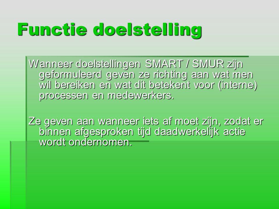 Een doelstelling SMART geformuleerd Het product Calvé biologische pindakaas moet in 2008 een marktaandeel hebben van 5% van de pindakaasmarkt in Nederland.