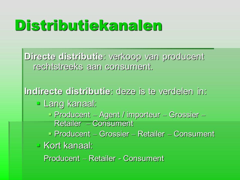 Distributiekanalen Directe distributie: verkoop van producent rechtstreeks aan consument. Indirecte distributie: deze is te verdelen in:  Lang kanaal