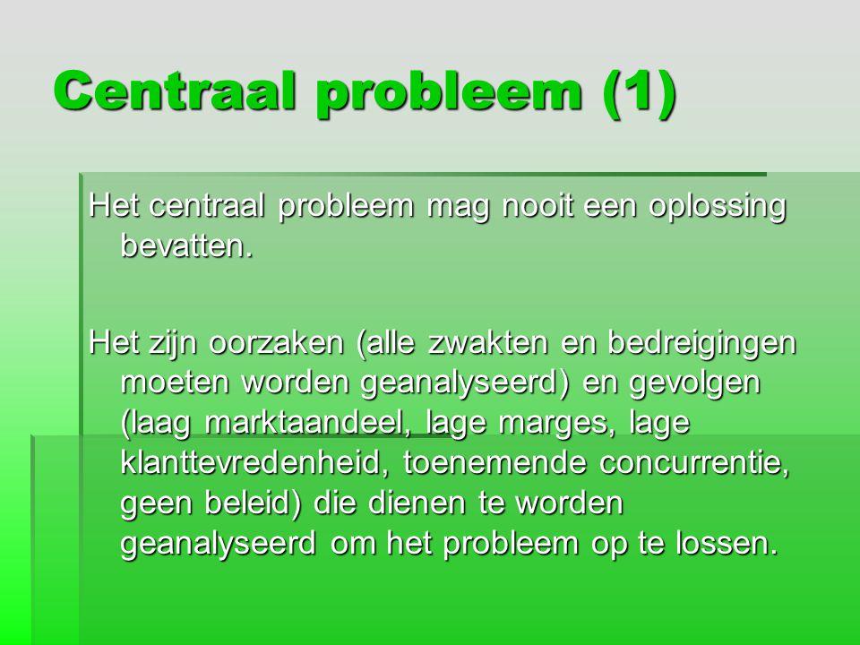 Centraal probleem (1) Het centraal probleem mag nooit een oplossing bevatten. Het zijn oorzaken (alle zwakten en bedreigingen moeten worden geanalysee