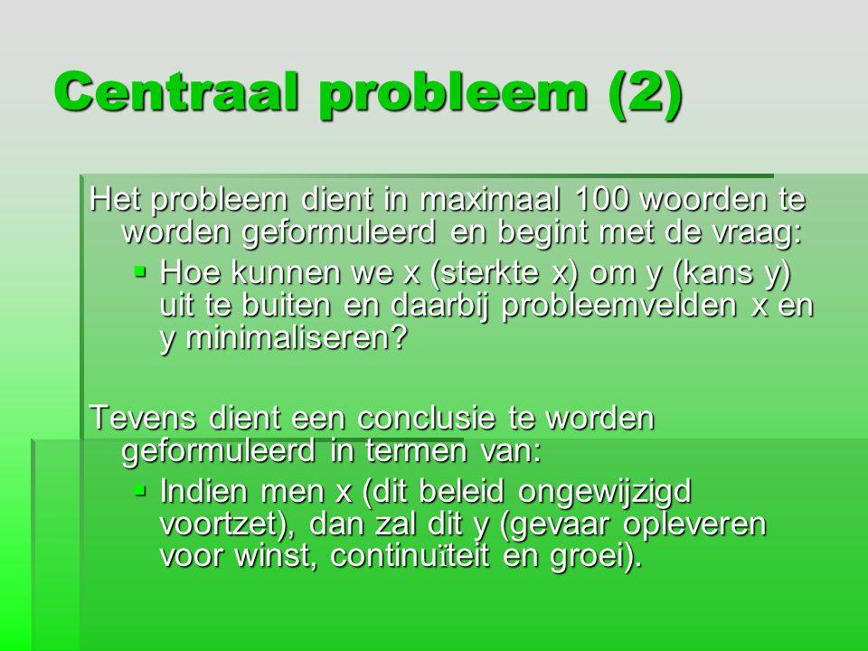 Centraal probleem (2) Het probleem dient in maximaal 100 woorden te worden geformuleerd en begint met de vraag:  Hoe kunnen we x (sterkte x) om y (ka
