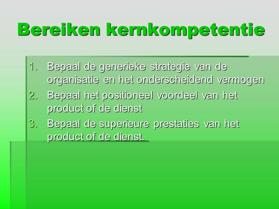 Bereiken kernkompetentie 1.Bepaal de generieke strategie van de organisatie en het onderscheidend vermogen 2.Bepaal het positioneel voordeel van het p