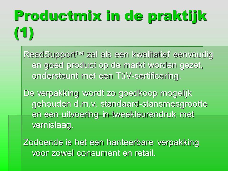 Productmix in de praktijk (1) ReadSupport ™ zal als een kwalitatief eenvoudig en goed product op de markt worden gezet, ondersteunt met een T ü V-cert