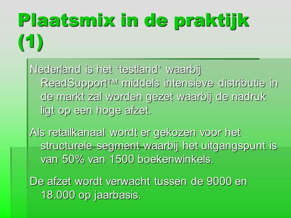 Plaatsmix in de praktijk (1) Nederland is het ' testland ' waarbij ReadSupport ™ middels intensieve distributie in de markt zal worden gezet waarbij d