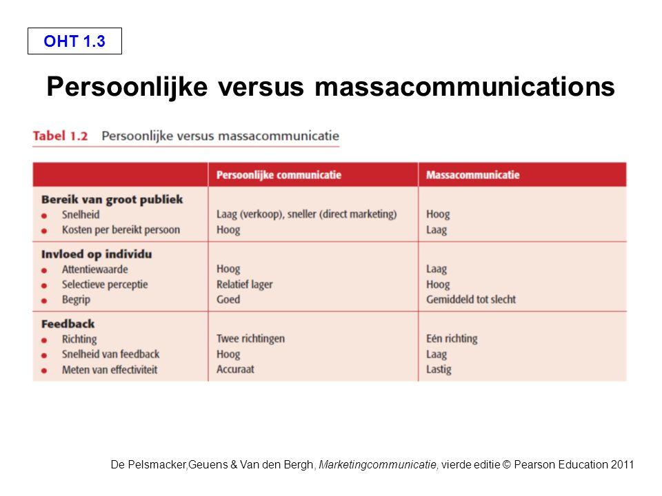 De Pelsmacker,Geuens & Van den Bergh, Marketingcommunicatie, vierde editie © Pearson Education 2011 OHT 1.3 Persoonlijke versus massacommunications