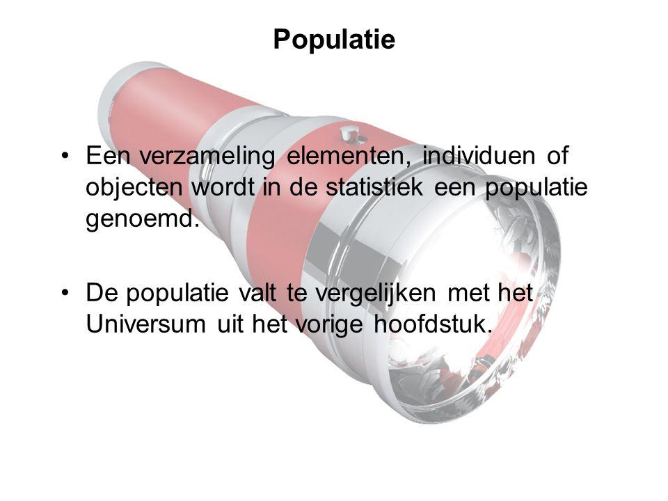 Populatie Een verzameling elementen, individuen of objecten wordt in de statistiek een populatie genoemd.
