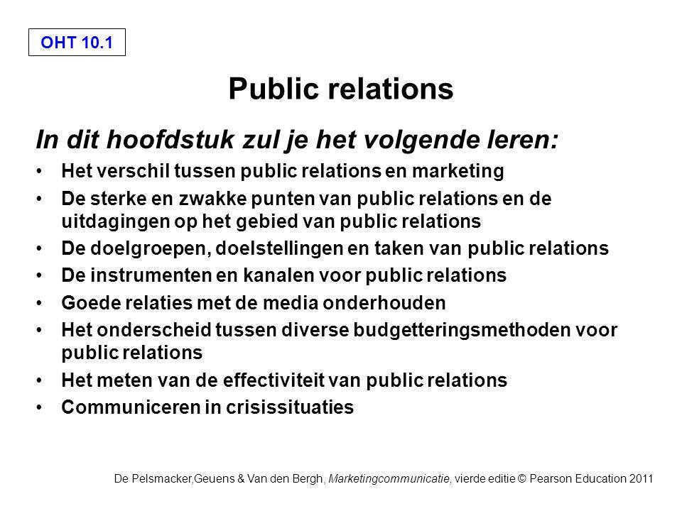 OHT 10.2 De Pelsmacker,Geuens & Van den Bergh, Marketingcommunicatie, vierde editie © Pearson Education 2011 Sterke punten van public relations