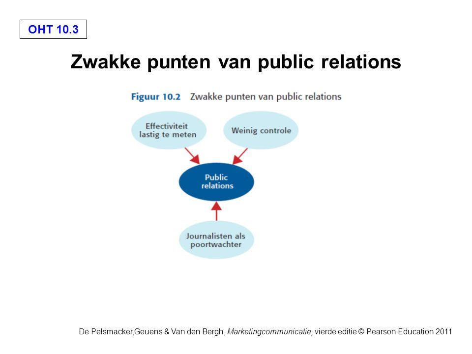 OHT 10.4 De Pelsmacker,Geuens & Van den Bergh, Marketingcommunicatie, vierde editie © Pearson Education 2011 Trends en uitdagingen voor public relations