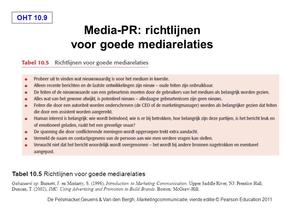 OHT 10.9 De Pelsmacker,Geuens & Van den Bergh, Marketingcommunicatie, vierde editie © Pearson Education 2011 Media-PR: richtlijnen voor goede mediarelaties Tabel 10.5 Richtlijnen voor goede mediarelaties Gebaseerd op: Burnett, J.