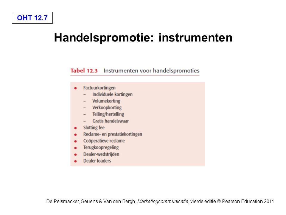 OHT 12.7 De Pelsmacker, Geuens & Van den Bergh, Marketingcommunicatie, vierde editie © Pearson Education 2011 Handelspromotie: instrumenten