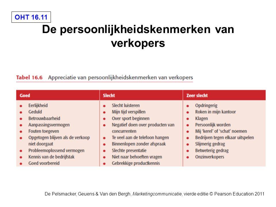 OHT 16.11 De Pelsmacker, Geuens & Van den Bergh, Marketingcommunicatie, vierde editie © Pearson Education 2011 De persoonlijkheidskenmerken van verkopers