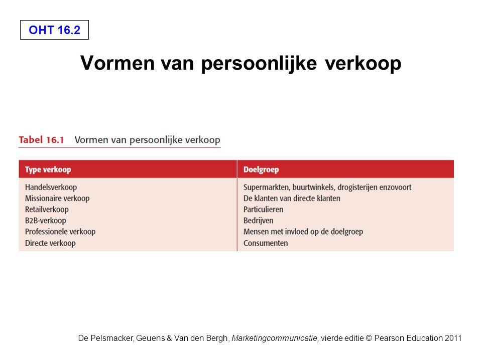 OHT 16.3 De Pelsmacker, Geuens & Van den Bergh, Marketingcommunicatie, vierde editie © Pearson Education 2011 Voor- en nadelen van persoonlijke verkoop
