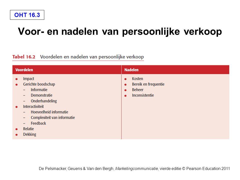 OHT 16.4 De Pelsmacker, Geuens & Van den Bergh, Marketingcommunicatie, vierde editie © Pearson Education 2011 Fasen in het proces van persoonlijke verkoop