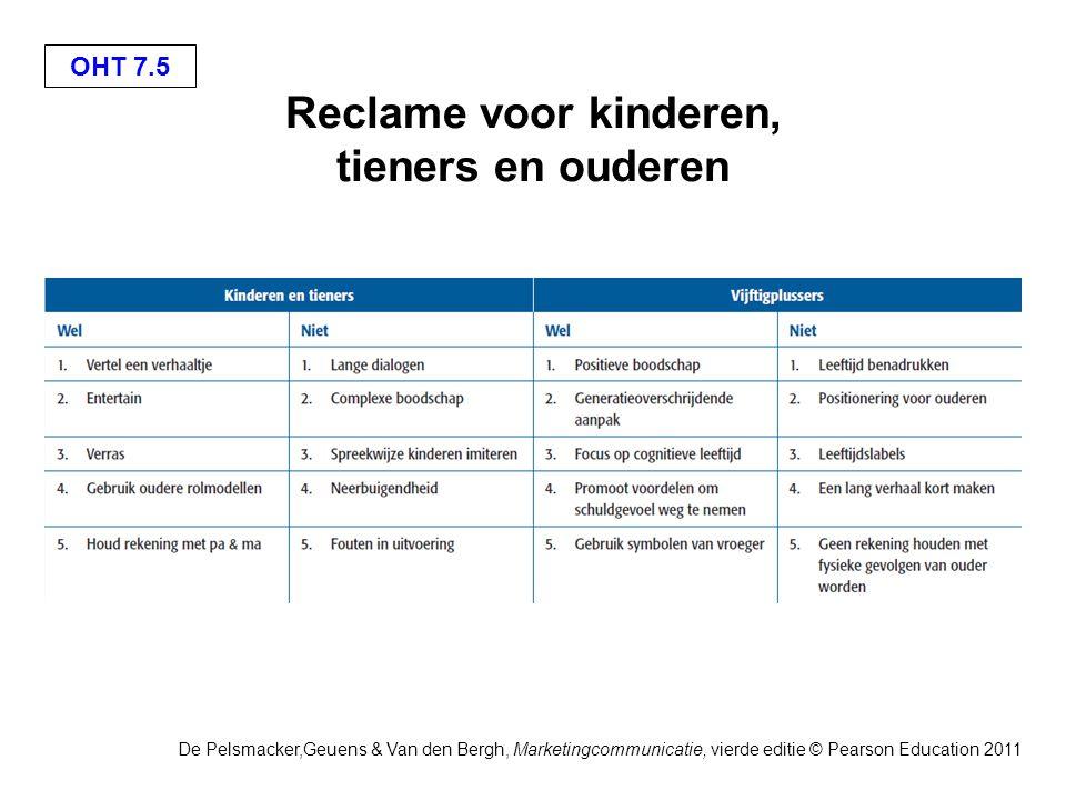 OHT 7.5 De Pelsmacker,Geuens & Van den Bergh, Marketingcommunicatie, vierde editie © Pearson Education 2011 Reclame voor kinderen, tieners en ouderen