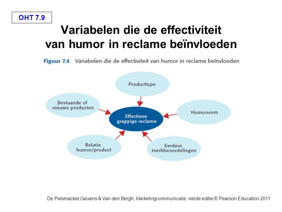 OHT 7.9 De Pelsmacker,Geuens & Van den Bergh, Marketingcommunicatie, vierde editie © Pearson Education 2011 Variabelen die de effectiviteit van humor in reclame beïnvloeden