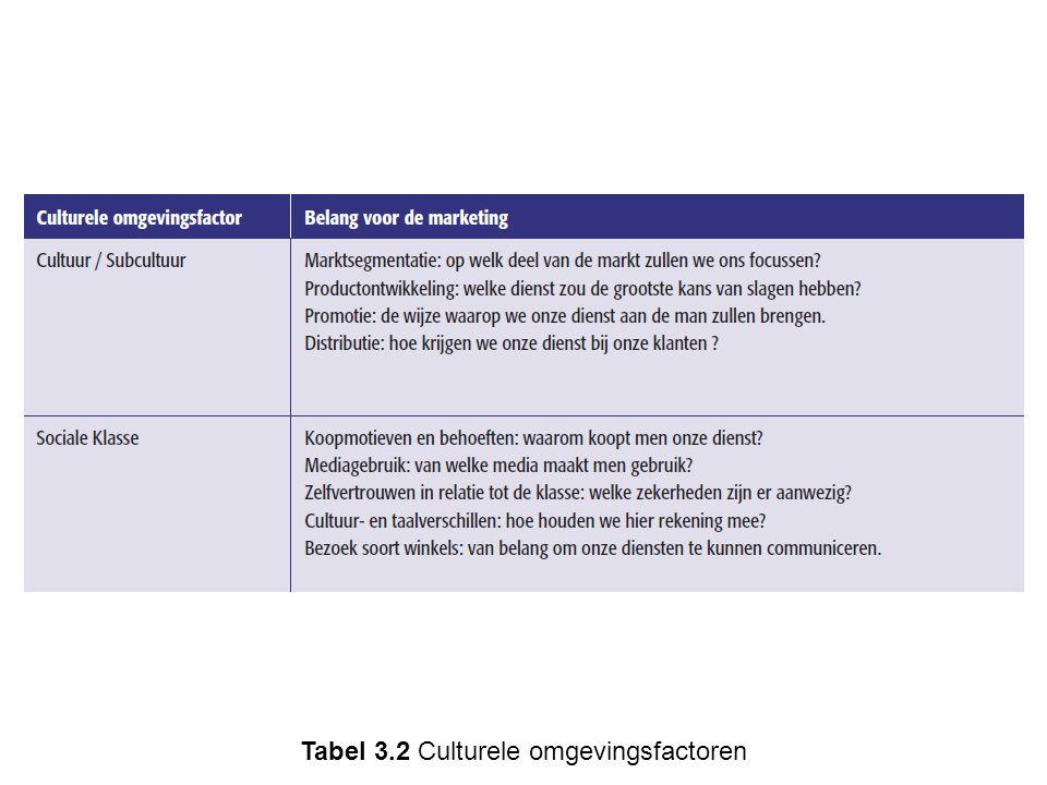 Tabel 3.2 Culturele omgevingsfactoren