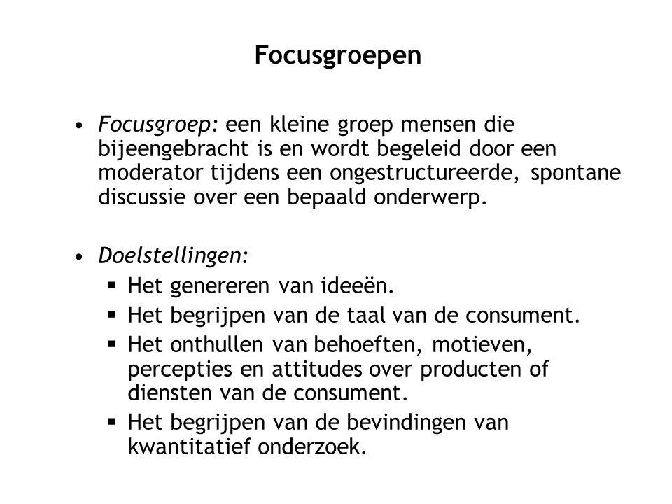 Focusgroep: een kleine groep mensen die bijeengebracht is en wordt begeleid door een moderator tijdens een ongestructureerde, spontane discussie over een bepaald onderwerp.