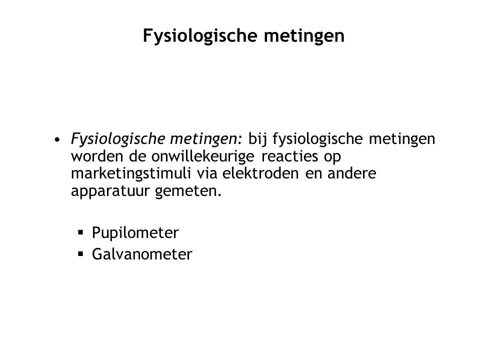 Fysiologische metingen: bij fysiologische metingen worden de onwillekeurige reacties op marketingstimuli via elektroden en andere apparatuur gemeten.