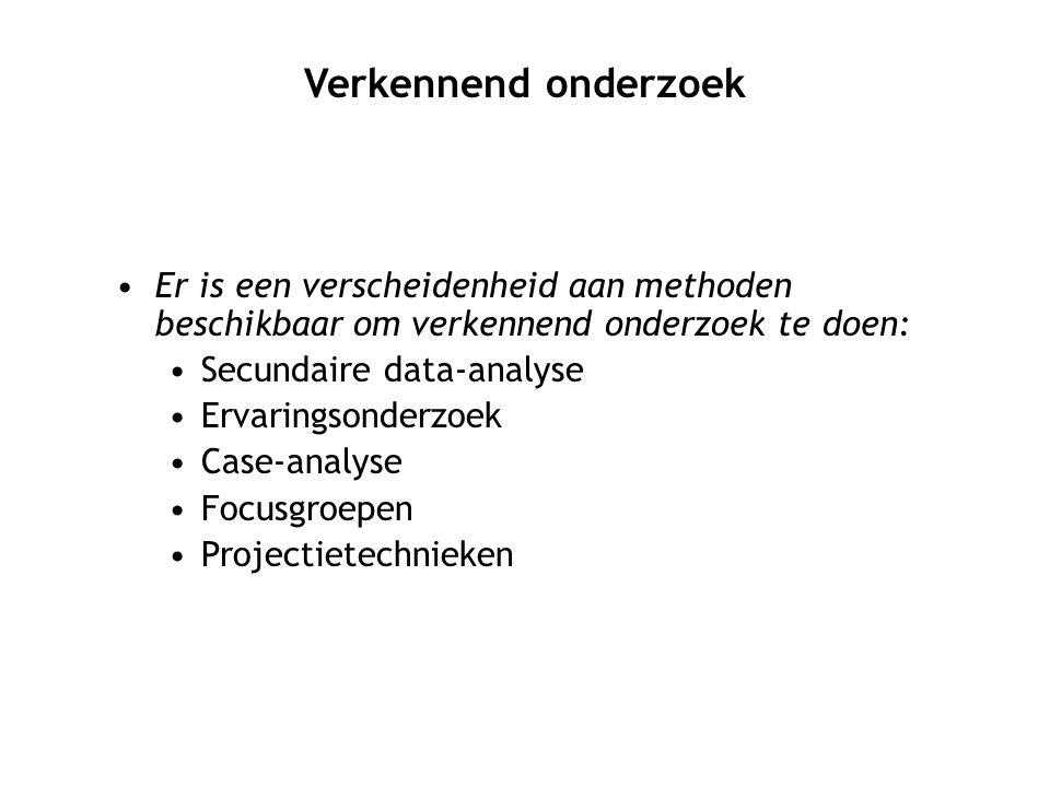 Er is een verscheidenheid aan methoden beschikbaar om verkennend onderzoek te doen: Secundaire data-analyse Ervaringsonderzoek Case-analyse Focusgroep