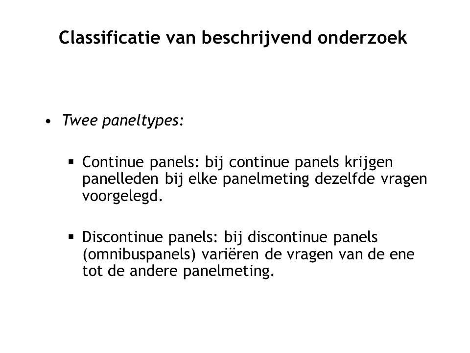 Twee paneltypes:  Continue panels: bij continue panels krijgen panelleden bij elke panelmeting dezelfde vragen voorgelegd.  Discontinue panels: bij