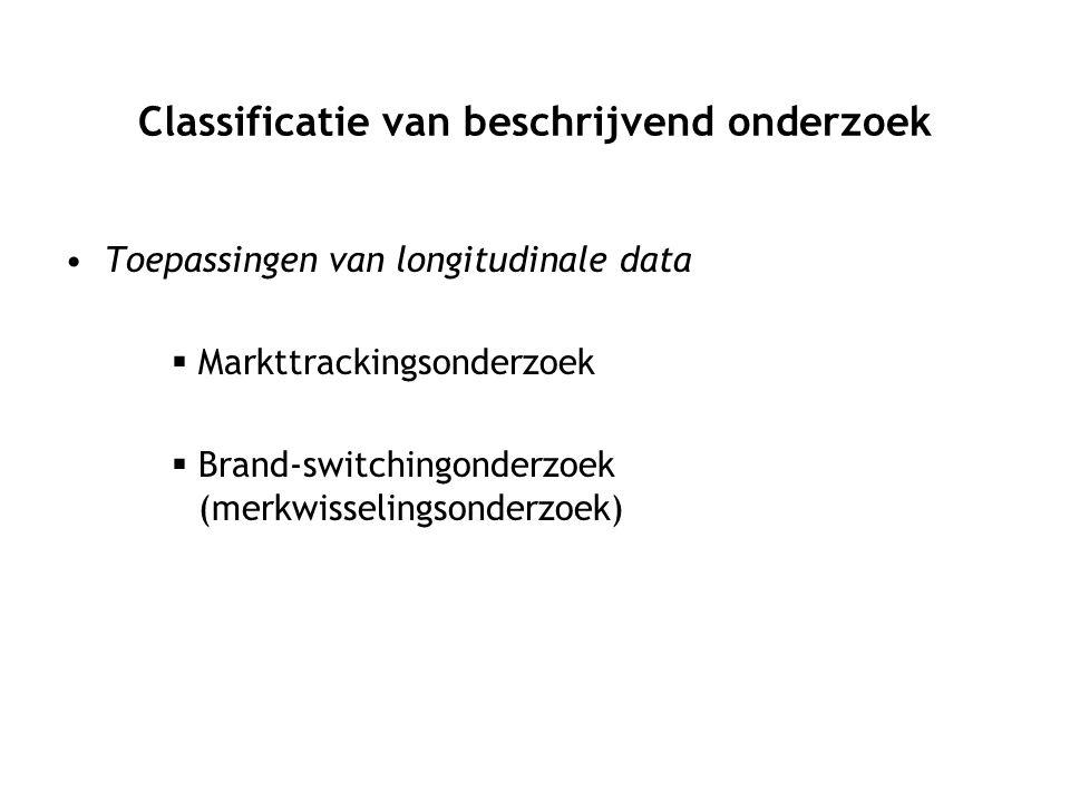 Toepassingen van longitudinale data  Markttrackingsonderzoek  Brand-switchingonderzoek (merkwisselingsonderzoek)