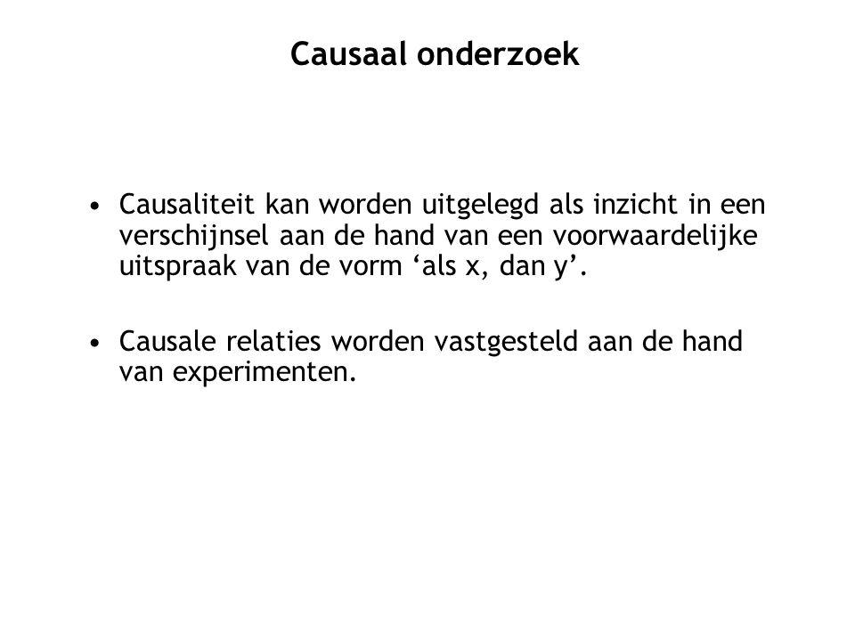 Causaliteit kan worden uitgelegd als inzicht in een verschijnsel aan de hand van een voorwaardelijke uitspraak van de vorm 'als x, dan y'. Causale rel