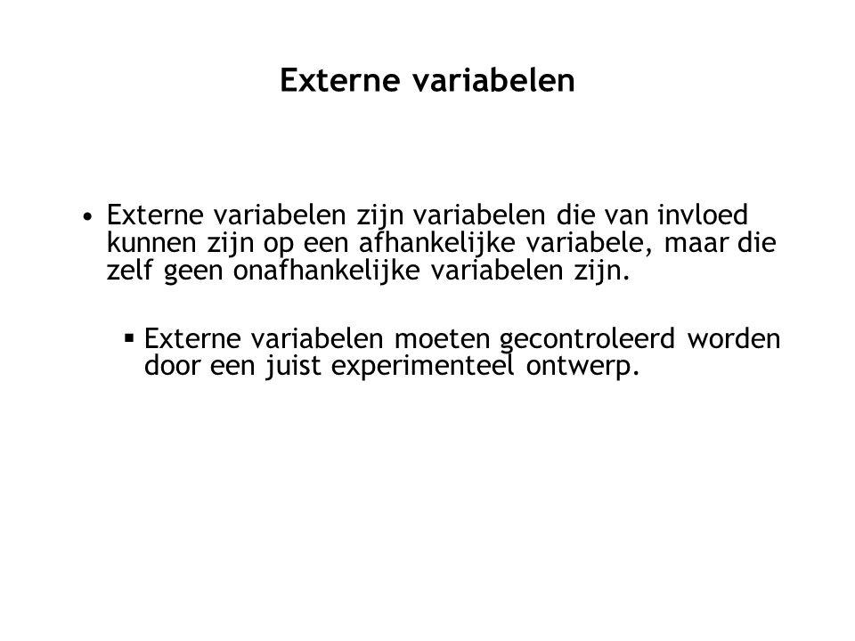 Externe variabelen Externe variabelen zijn variabelen die van invloed kunnen zijn op een afhankelijke variabele, maar die zelf geen onafhankelijke var
