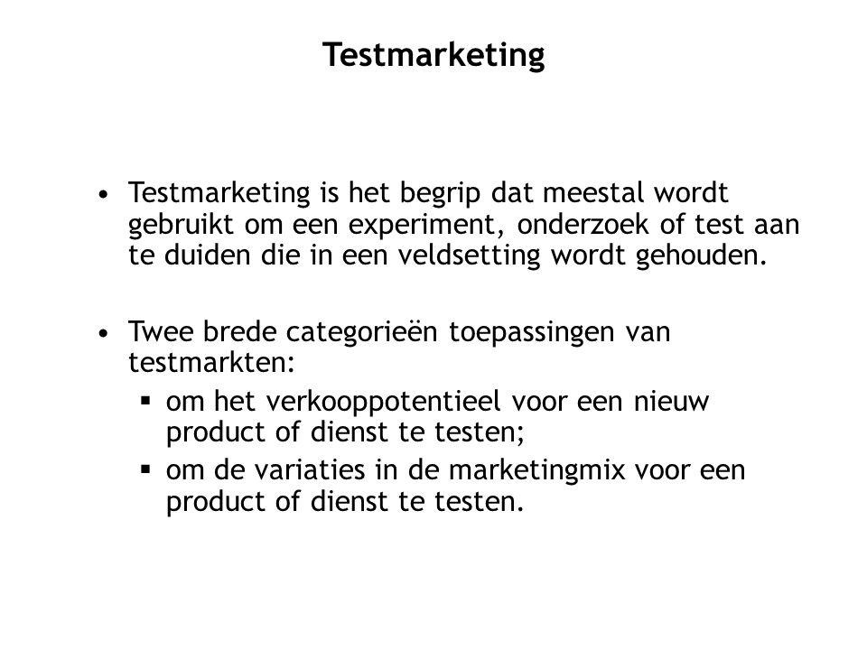 Testmarketing is het begrip dat meestal wordt gebruikt om een experiment, onderzoek of test aan te duiden die in een veldsetting wordt gehouden. Twee