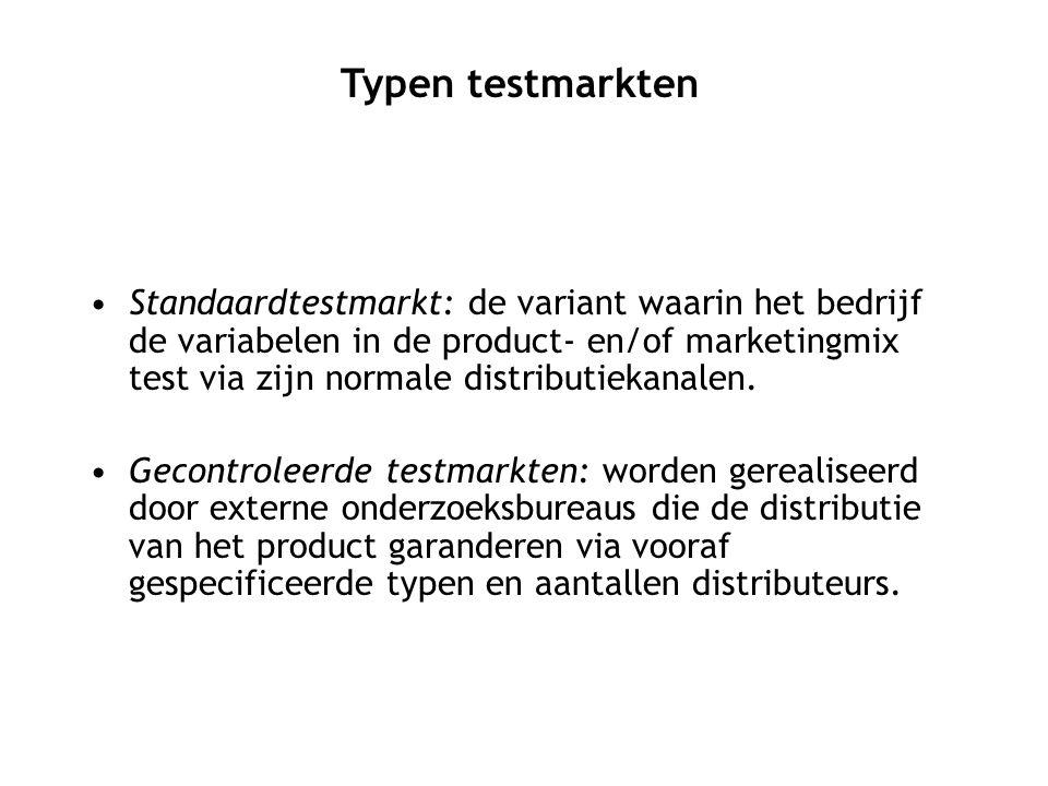Standaardtestmarkt: de variant waarin het bedrijf de variabelen in de product- en/of marketingmix test via zijn normale distributiekanalen. Gecontrole