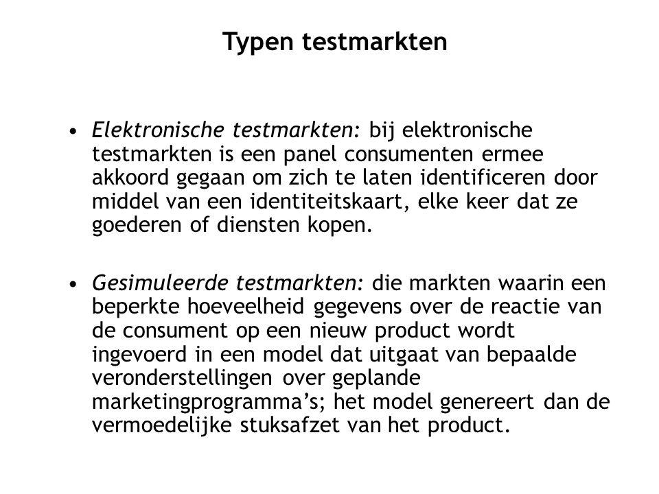 Elektronische testmarkten: bij elektronische testmarkten is een panel consumenten ermee akkoord gegaan om zich te laten identificeren door middel van