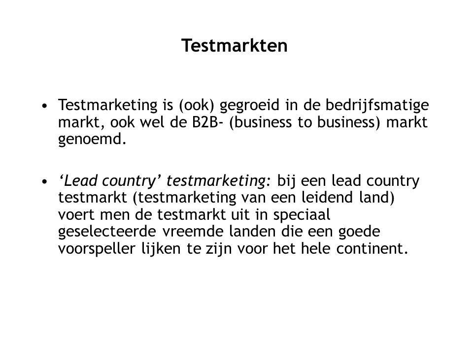 Testmarketing is (ook) gegroeid in de bedrijfsmatige markt, ook wel de B2B- (business to business) markt genoemd. 'Lead country' testmarketing: bij ee