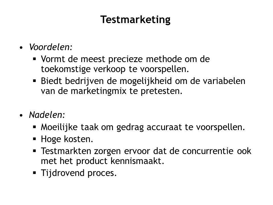 Voordelen:  Vormt de meest precieze methode om de toekomstige verkoop te voorspellen.  Biedt bedrijven de mogelijkheid om de variabelen van de marke