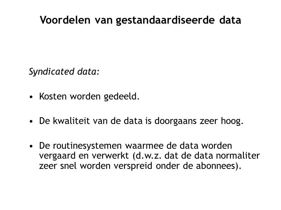 Syndicated data: Kosten worden gedeeld.De kwaliteit van de data is doorgaans zeer hoog.
