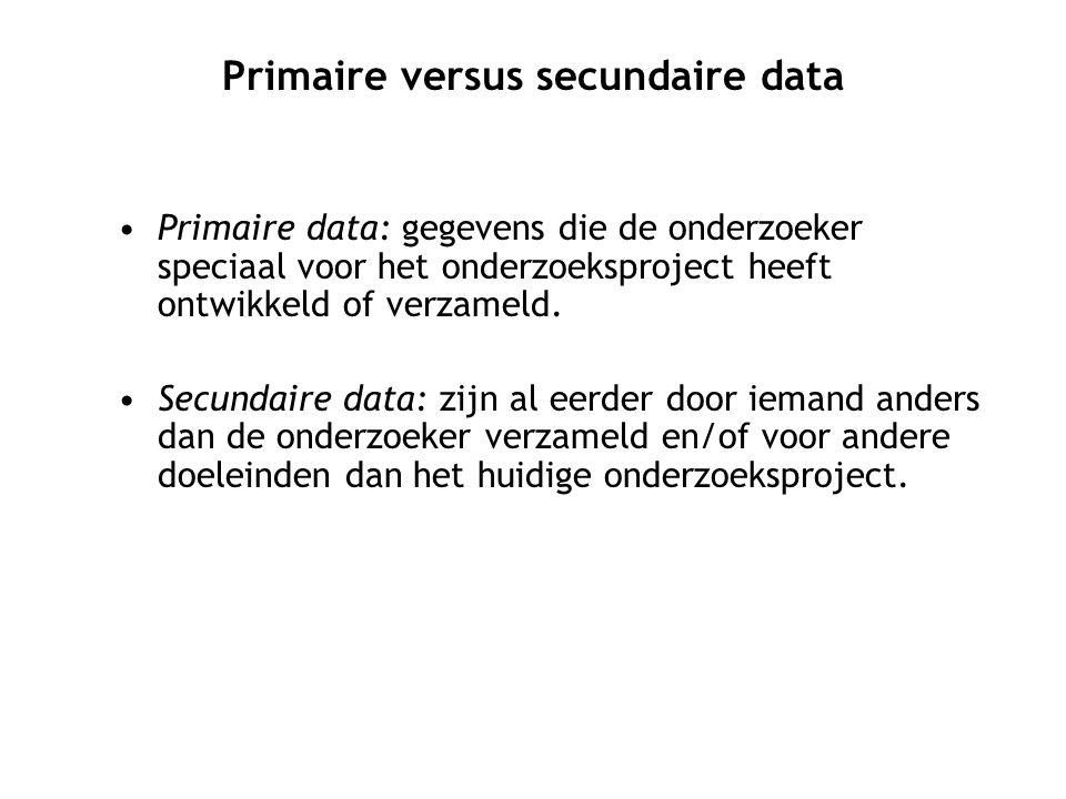 Primaire data: gegevens die de onderzoeker speciaal voor het onderzoeksproject heeft ontwikkeld of verzameld.