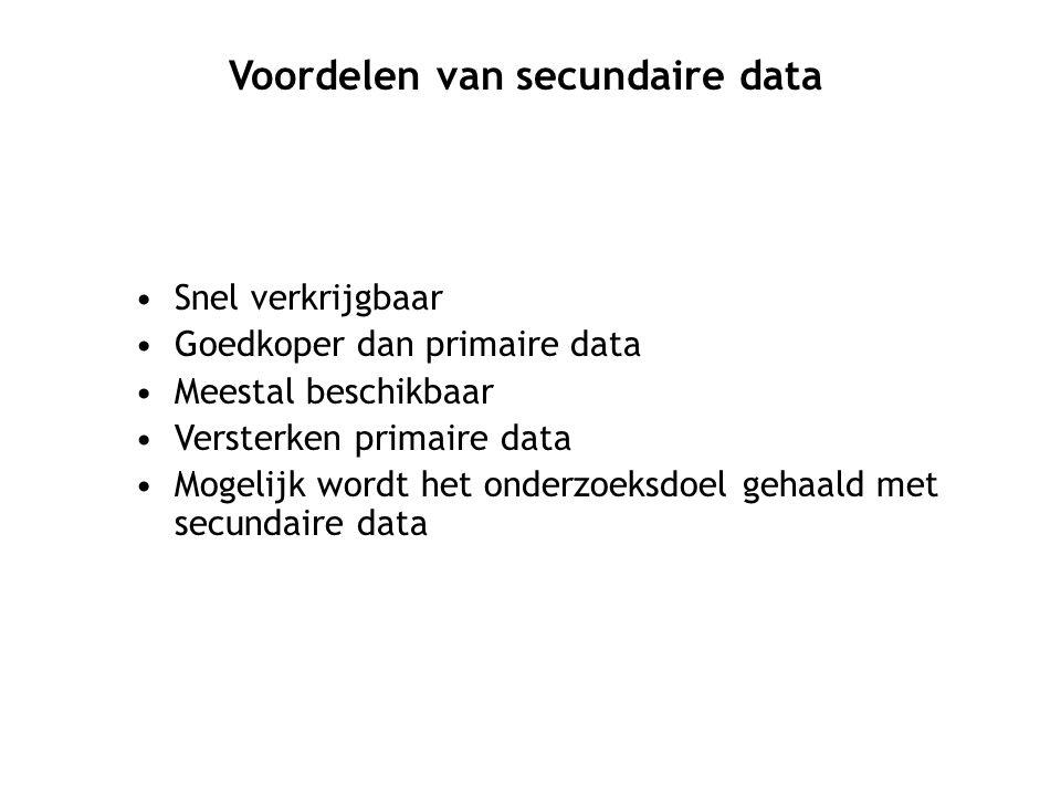 Snel verkrijgbaar Goedkoper dan primaire data Meestal beschikbaar Versterken primaire data Mogelijk wordt het onderzoeksdoel gehaald met secundaire data Voordelen van secundaire data