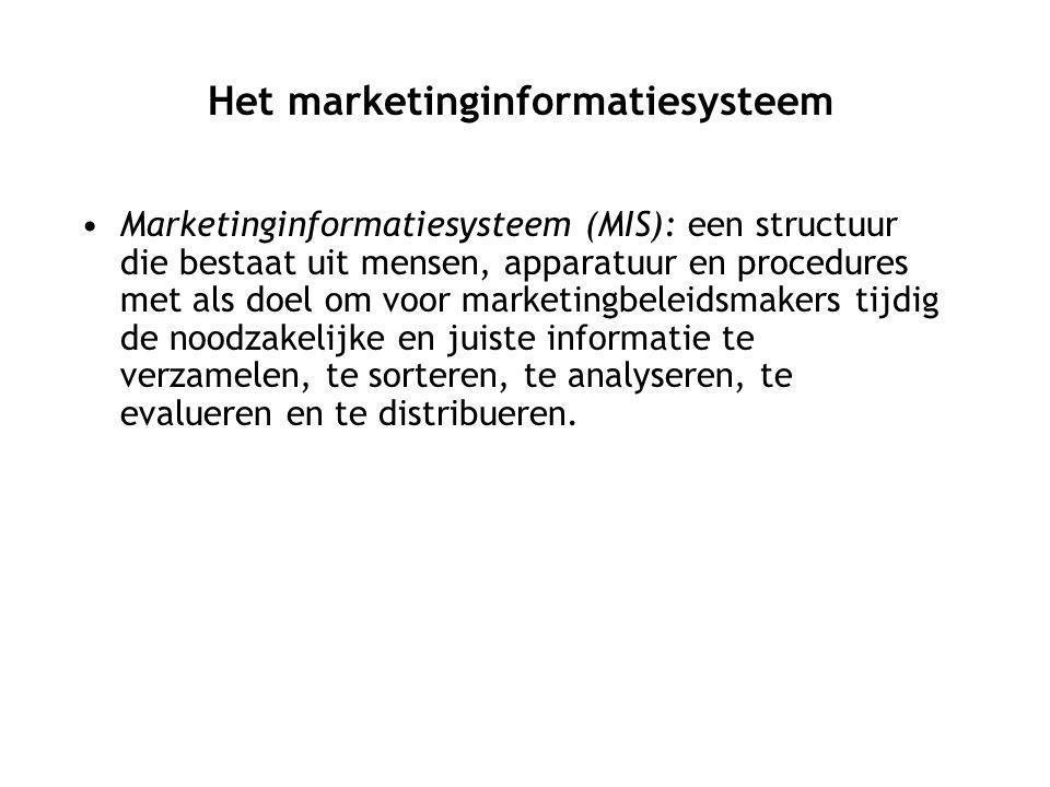 Marketinginformatiesysteem (MIS): een structuur die bestaat uit mensen, apparatuur en procedures met als doel om voor marketingbeleidsmakers tijdig de noodzakelijke en juiste informatie te verzamelen, te sorteren, te analyseren, te evalueren en te distribueren.