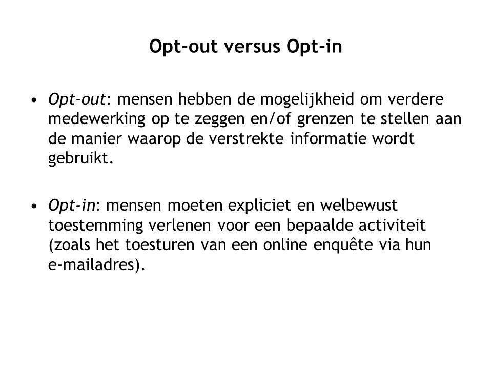 Opt-out versus Opt-in Opt-out: mensen hebben de mogelijkheid om verdere medewerking op te zeggen en/of grenzen te stellen aan de manier waarop de verstrekte informatie wordt gebruikt.