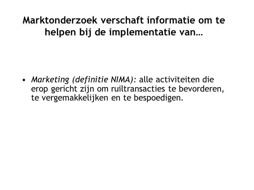Marketing (definitie NIMA): alle activiteiten die erop gericht zijn om ruiltransacties te bevorderen, te vergemakkelijken en te bespoedigen.