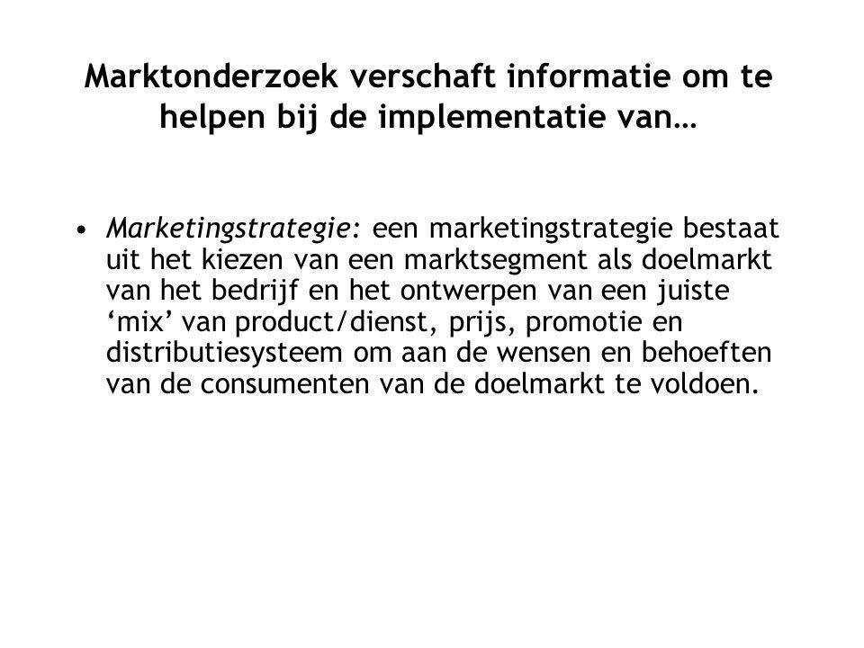 Marketingstrategie: een marketingstrategie bestaat uit het kiezen van een marktsegment als doelmarkt van het bedrijf en het ontwerpen van een juiste 'mix' van product/dienst, prijs, promotie en distributiesysteem om aan de wensen en behoeften van de consumenten van de doelmarkt te voldoen.