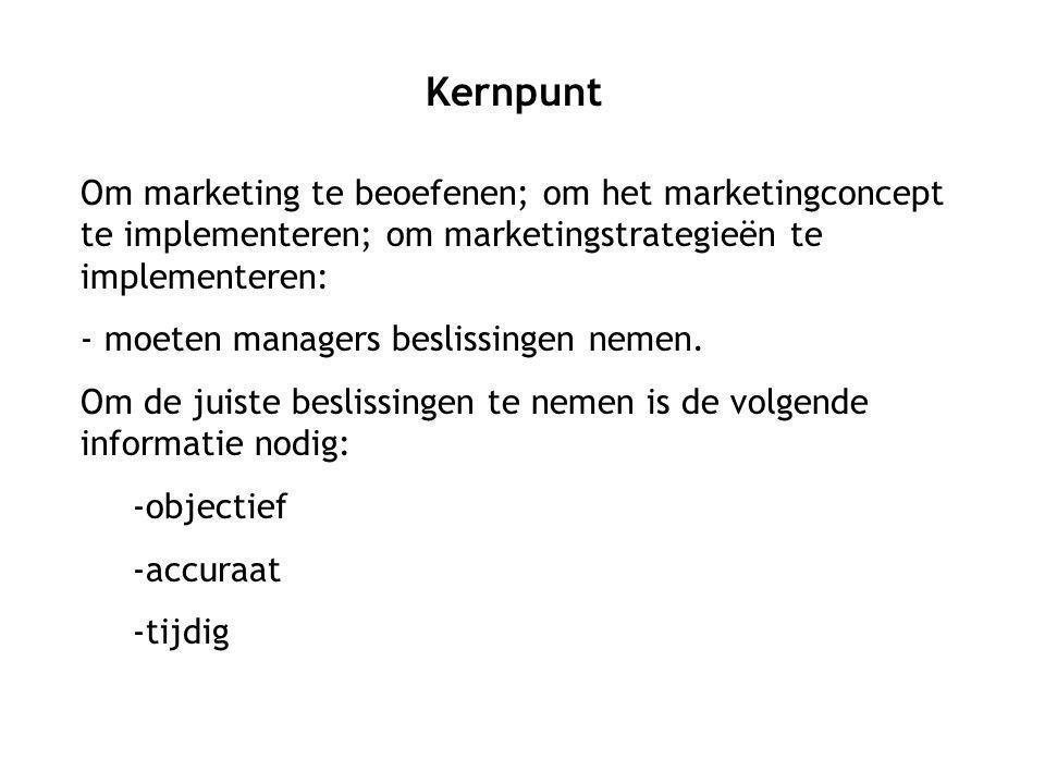 Om marketing te beoefenen; om het marketingconcept te implementeren; om marketingstrategieën te implementeren: - moeten managers beslissingen nemen.