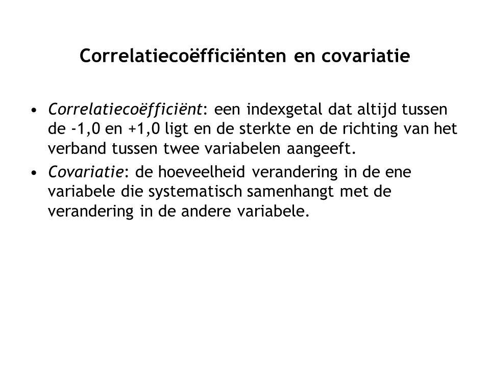 Correlatiecoëfficiënten en covariatie Correlatiecoëfficiënt: een indexgetal dat altijd tussen de -1,0 en +1,0 ligt en de sterkte en de richting van het verband tussen twee variabelen aangeeft.