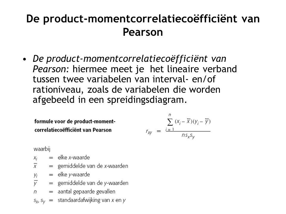 De product-momentcorrelatiecoëfficiënt van Pearson De product-momentcorrelatiecoëfficiënt van Pearson: hiermee meet je het lineaire verband tussen twee variabelen van interval- en/of rationiveau, zoals de variabelen die worden afgebeeld in een spreidingsdiagram.